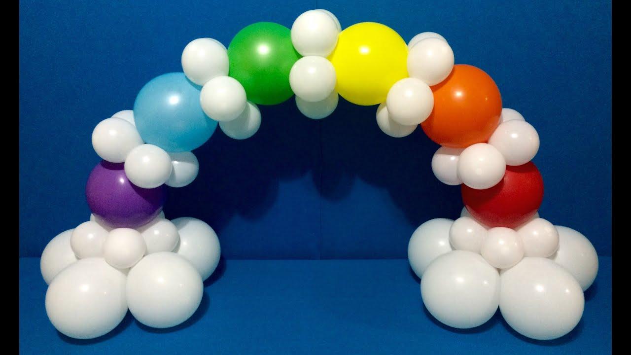 Rainbow balloon arch tutorial youtube for How to make a rainbow arch