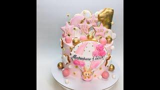 Оформление торта для девочки Торт на один годик крем оформление пряники шоколадные шары