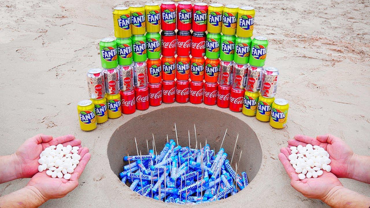 Different Coca Cola and Different Fanta VS Mentos Underground