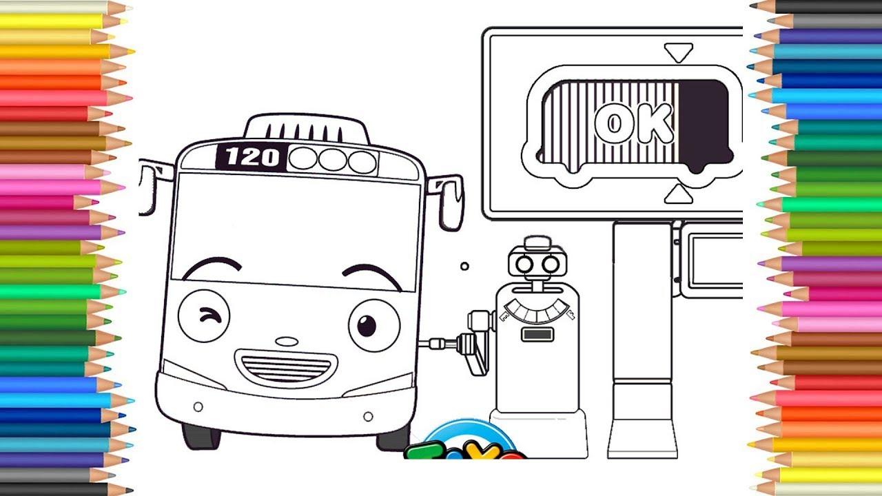 Mewarnai Gambar Tayo Sedang Mengisi Bensin Hey Tayo Bus Kecil