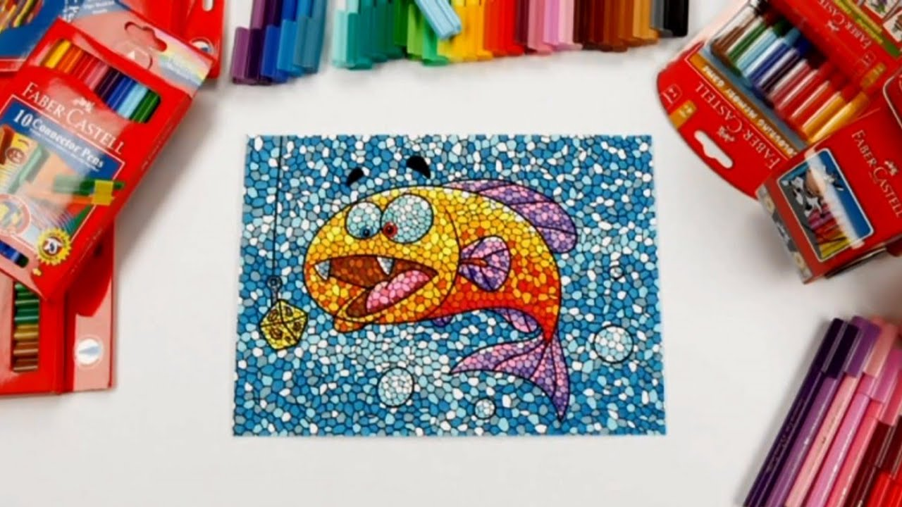 drawing for kids mosaic technique with connector pens youtube
