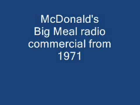 McDonald's Big Meal radio commercial from 1971 -- Johnny Dark, WCAO Baltimore