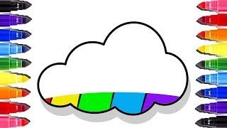 Coloring pages Rainbow Cloud | How to draw and learn colours | Coloriage enfant