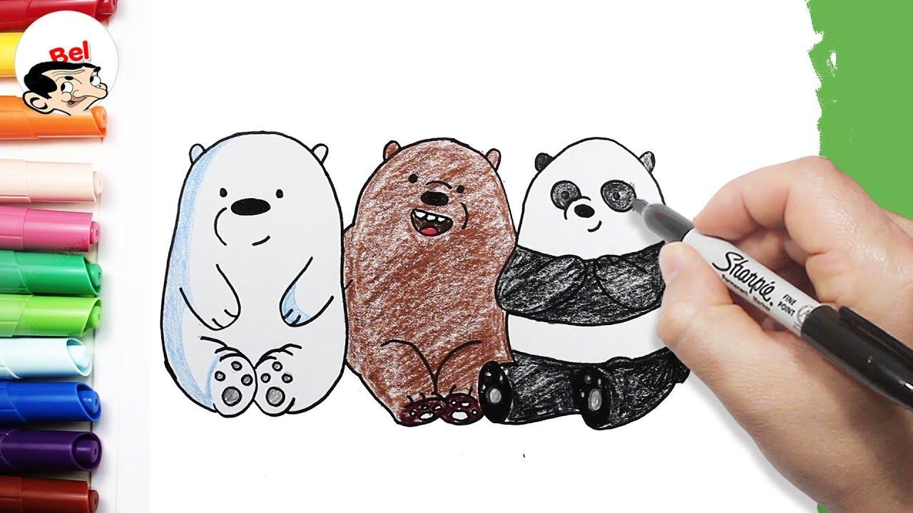 رسم الدببة الثلاثة بالرصاص أسهل طريقة للأطفال تعليم الرسم Youtube