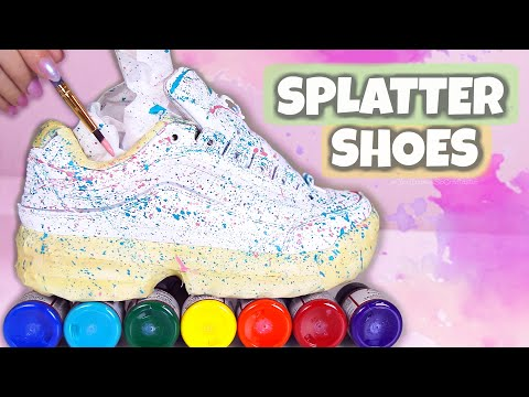 How To CUSTOM SPLATTER PAINT SHOES : $18 Walmart Sneakers Transformation