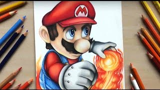 Drawing Mario from Nintendo using coloured pencils