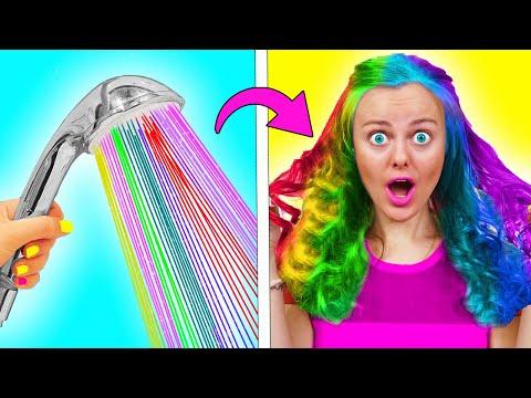 13 Бьюти ЛАЙФХАКОВ и Забавных советов для девочек! ИДЕИ для Радужных волос и косметики LIFE HACKS