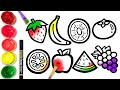 How to draw glitter Fruit for kids | TOBiART