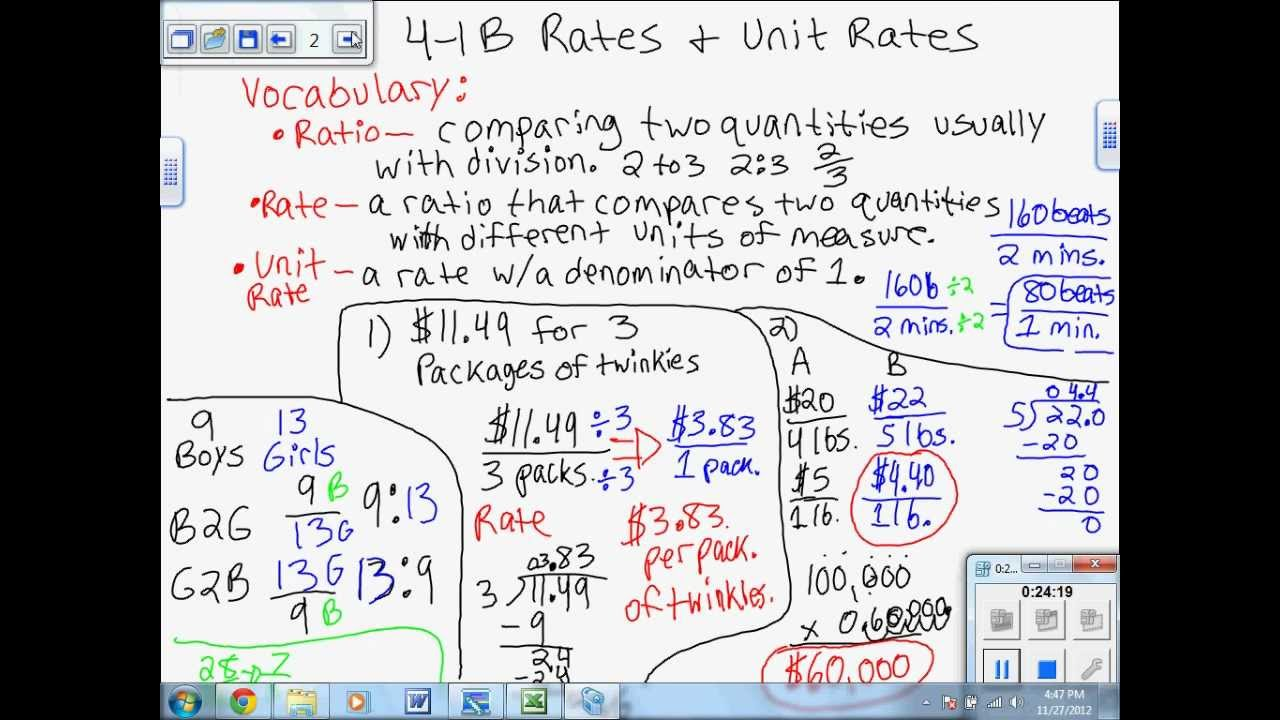 4 1 B Rates Unit Rates Examples Amp Decision Making Ch 4