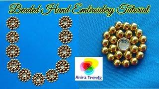 Beautiful Beads Design with Normal Stitching Needle same like Aari/ Maggam Work Blouse Neckline