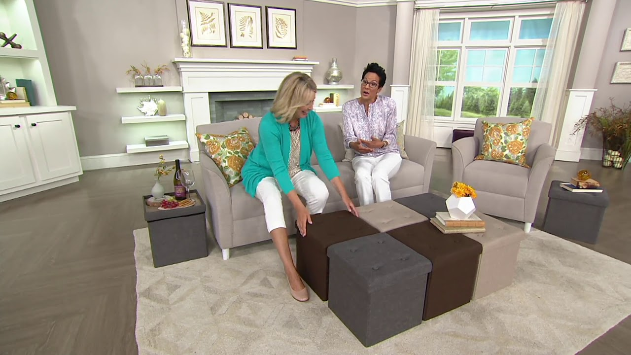 buy online bf656 c27c6 Fresh Home Elements Tufted Folding Ottoman Set or Storage Bench on QVC