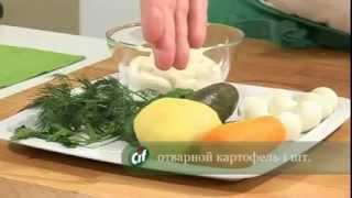 Вкусные салаты  Салат Оливье с красной рыбой