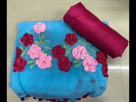 latest designer georgett ribbon work sarees with price/fashion9tv/price:1650 /-