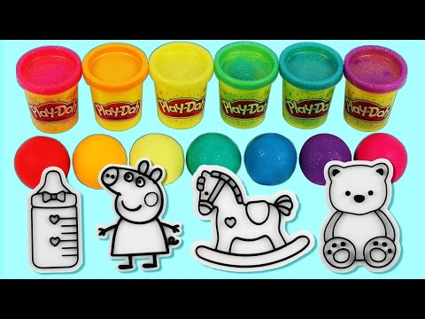 Thumbnail: Learn Colors Play Doh Clay Baby Milk Bottle Peppa Pig Sofia Finger Family Song Slime Surprise Toys