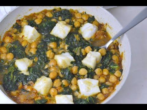 Bacalao con garbanzos y espinacas receta r pida youtube - Bacalao con garbanzos y patatas ...