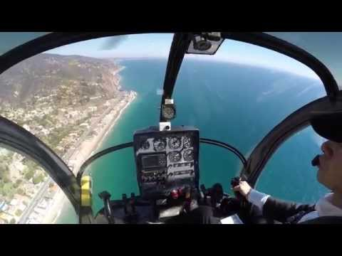Helicopter flight along Malibu coast