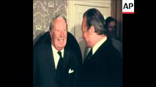 SYND 12-11-73 WILLY BRANDT MEETS EDWARD HEATH IN DOWNING STREET