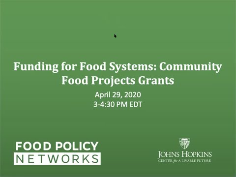 Funding For Food Systems: Community Food Projects Grants