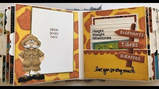 Baby boy's first-year safari-themed album using Nitwit Collections!