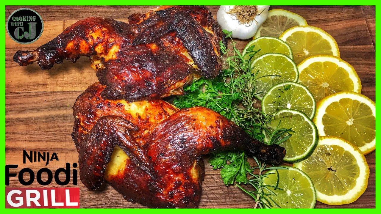 Ninja Foodi Grill Roasted Whole Chicken Spatchcocked Chicken Ninja Foodi Grill Recipes Youtube