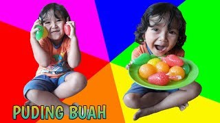 ENAKNYA.. Balita Pertama Kali Makan Puding Buah, LEARN COLOR WITH FRUIT PUDDING