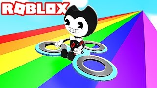 BENDY rides a FIDGET SPINNER down 999,999 feet in Roblox Obby!