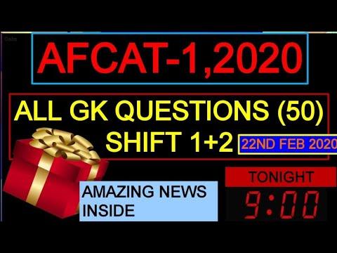 SHIFT( 1 + 2 ) COMPLETE GK QUESTIONS    AFCAT 1 2020 EXAM