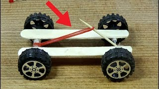 How to make Rubber Band Powered CAR diy toy car