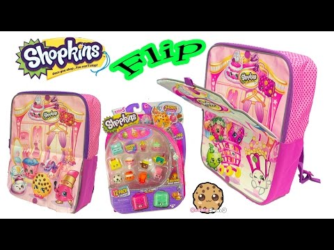 Shopkins Flip Backpack + Surprise Season 5 Packs With Mystery Blind Bags And Charms