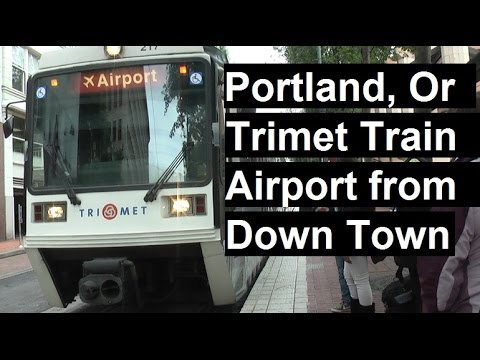 Portland, OR. TriMet red line train ride. How to get to airport directly from downtown for $2.00
