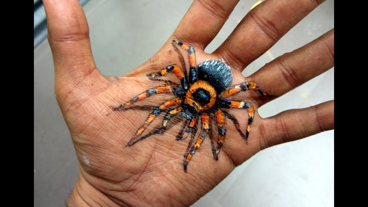 Amazing 3d Trick Art Spider Drawing On Hand Amazing Optical Illusion Art Scary Body Art