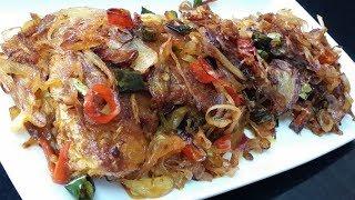 Spicy Chilli Onion Fish Fry/Special Home Recipe/ Simple&Tasty Fish Fry/Piyaji Maach Bhaja