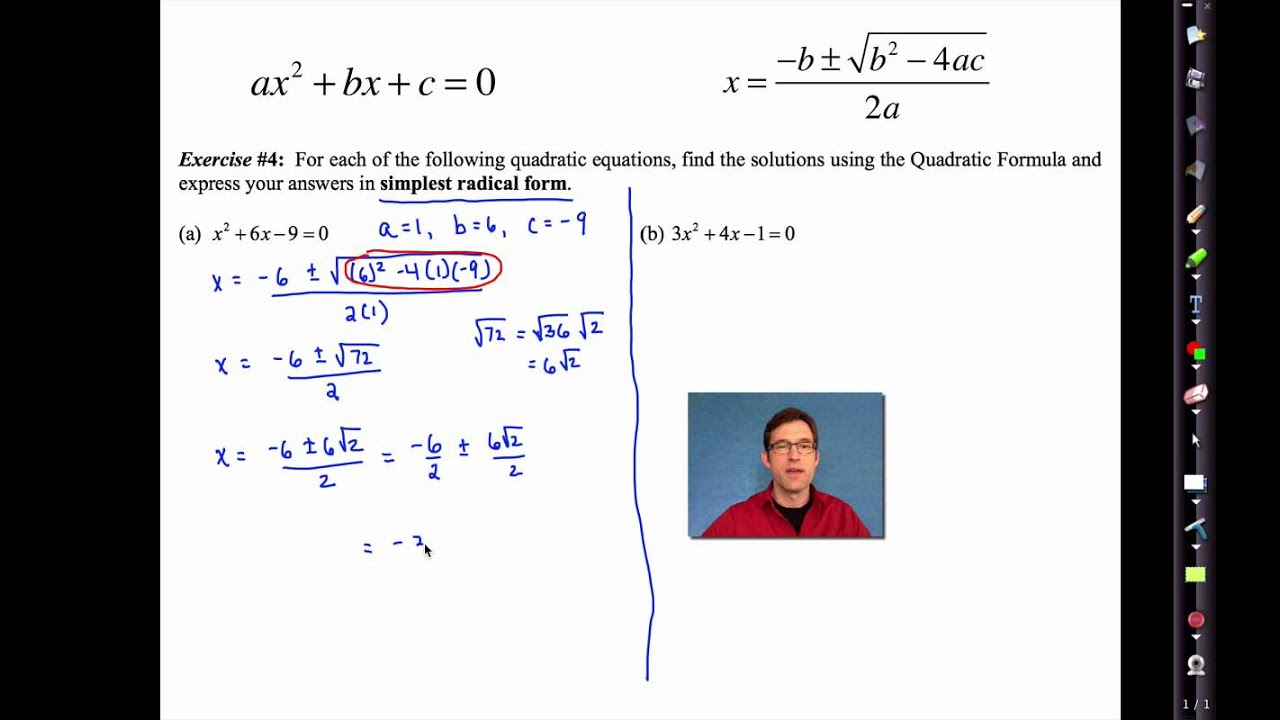 Common Core Algebra I Unit 9 Lesson 6e Quadratic Formula By Emathinstruction