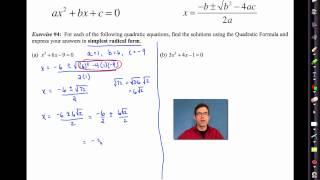 Common Core Algebra I.Unit #9.Lesson #6.The Quadratic Formula by eMathInstruction