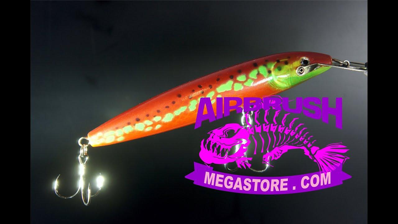 Painting fishing lures 6005 spot 39 n disease youtube for Airbrushing fishing lures