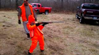 Little kid shooting big gun
