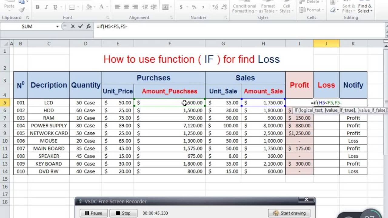 profit loss excel template fresh excel profit and loss formula