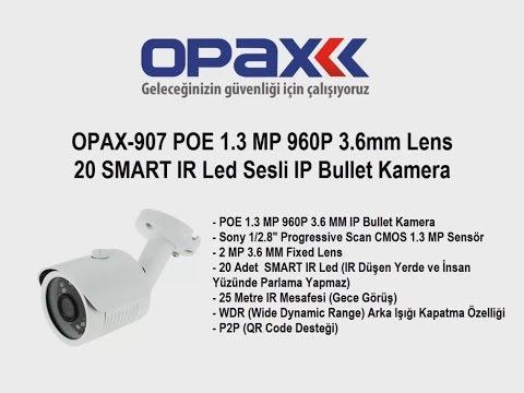OPAX-907 POE 1.3 MP 960P 3.6mm Lens 20 SMART IR Led Sesli IP Bullet Kamera