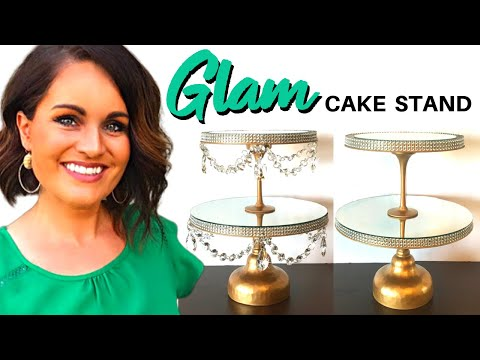 DIY DECOR: Dollar Tree Bling Gold Cake Stand On a Budget