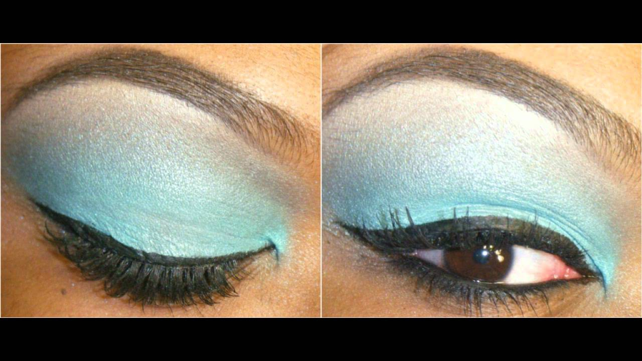 Tutorial | Turquoise One Color Eyeshadow - YouTube