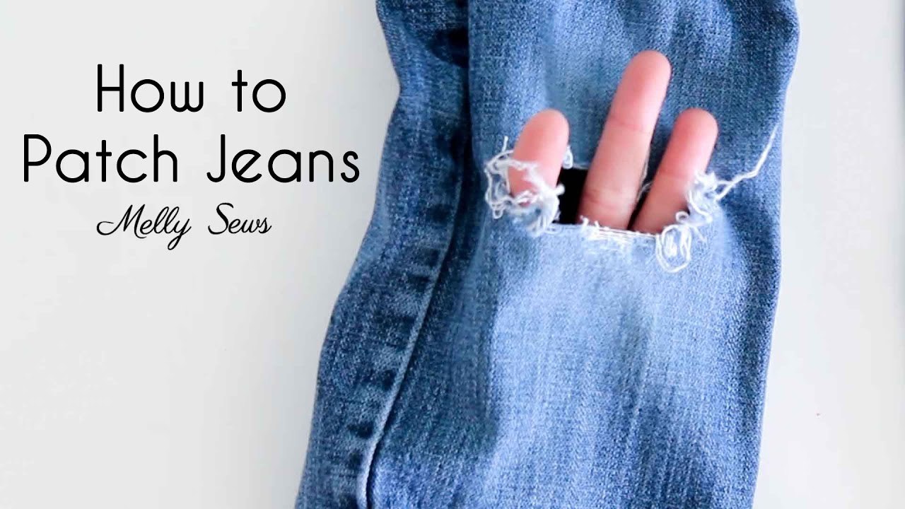 5f28e2bb How to Patch Jeans and Keep the Distressed Look - YouTube