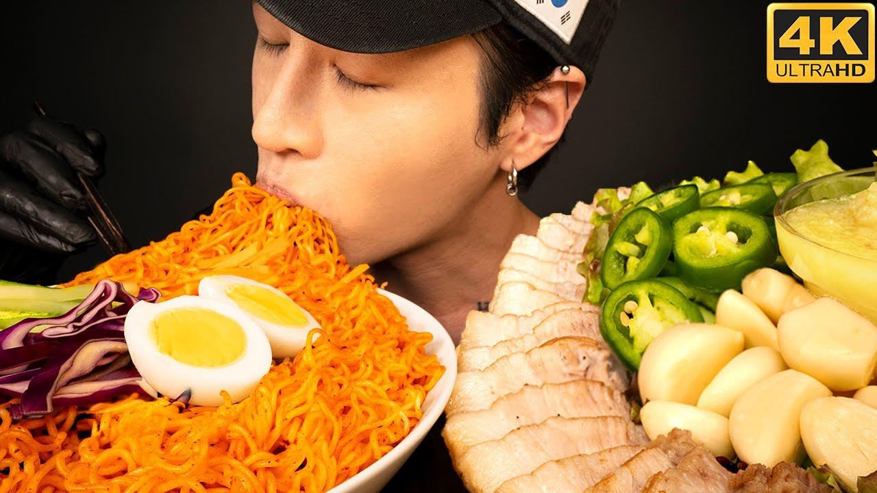 ASMR SPICY NOODLES 비빔면 & PORK BELLY BOSSAM 보쌈 MUKBANG 먹방 (No Talking) COOKING & EATING SOUNDS