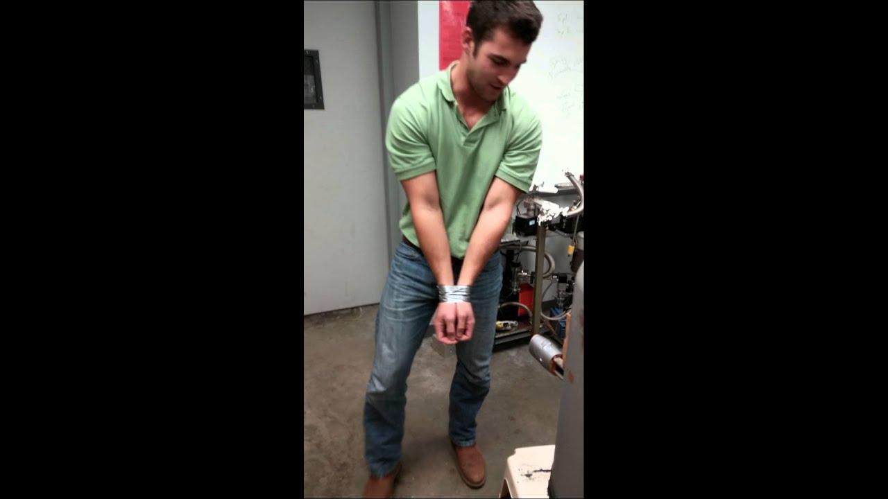 bondage Cheerleader escape attempt to