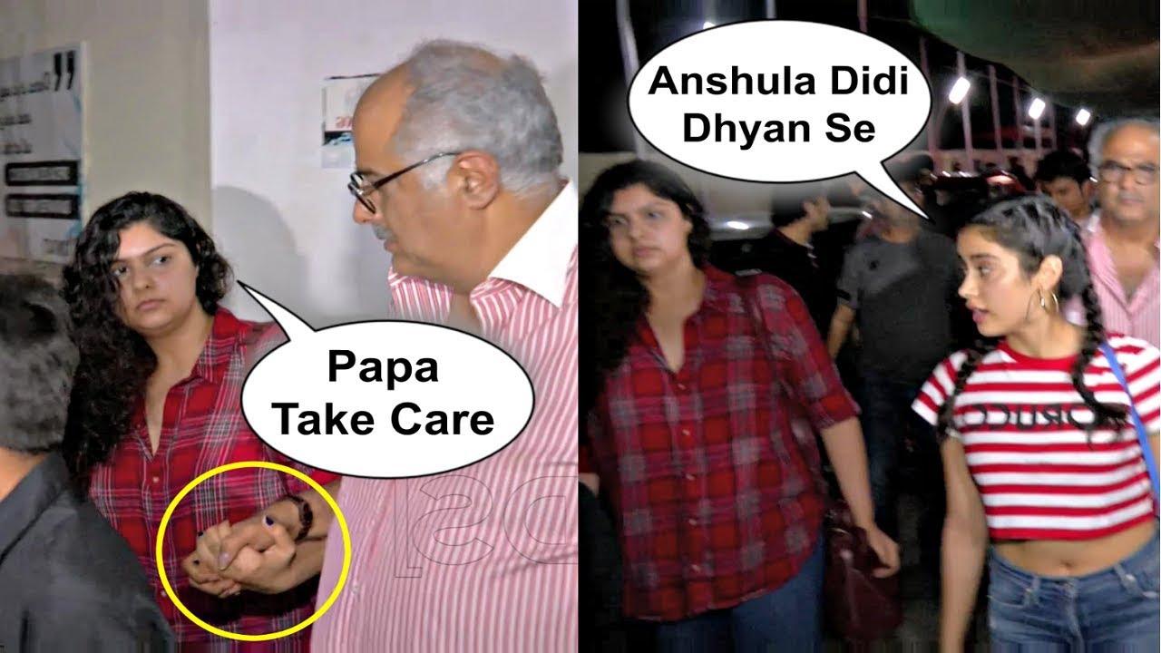 Jhanvi Kapoor, Anshula Kapoor, Boney Kapoor Taking Caring Of Each Other As Family