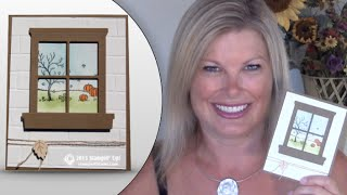 How To Make A Window Card With Stampin Up's Hearth & Home Framelits & Brick Wall