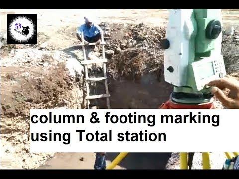 Marking column and footing using total station