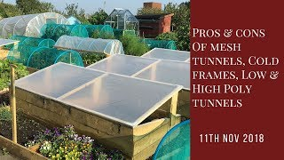 Comparing the pros and cons of: cold-frames; low and high polytunnels; greenhouses and mesh tunnels