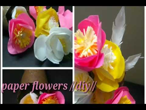 Paper flowers//diy#anjani's channel#telugu