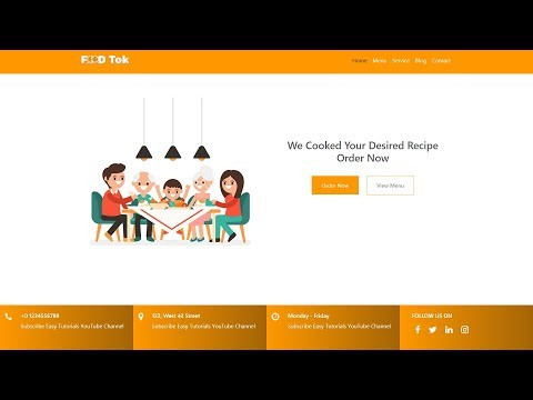 How To Make Restaurant Website Header  Using HTML CSS And Bootstrap