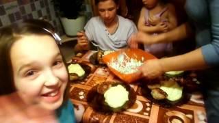 Vlog: What's for dinner .Влог: Что на ужин у многодетной семьи, в гости приехал старший сын.